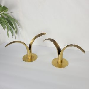 Vintage brass Lilly candlestick holder